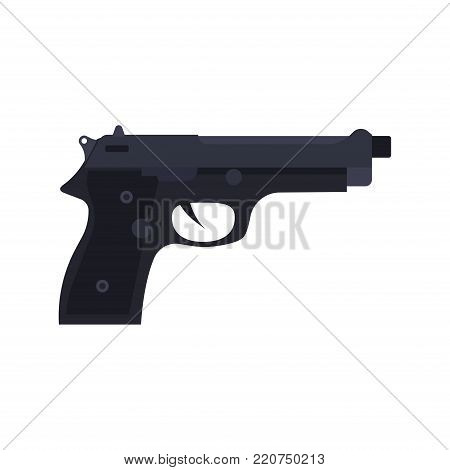 Police pistol vector icon gun illustration handgun weapon isolated symbol. Security crime sign protection war firearm