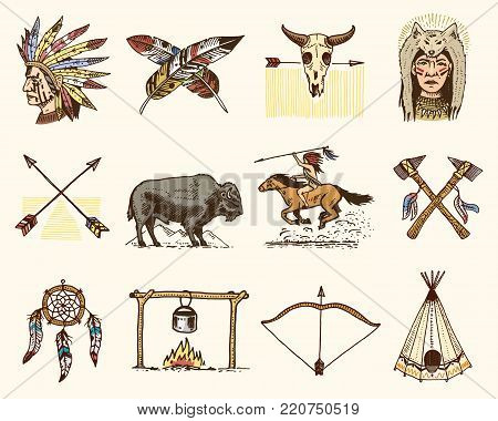 indian or native american. buffalo, axes and tent, arrows and bow, skull, Dreamcatcher and cherokee, tomahawk. set of engraved vintage, hand drawn, old, labels or badges
