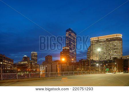 Boston John Hancock Tower and Back Bay Skyline at night, Boston, Massachusetts, USA.
