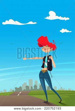 Girl hitchhiker standing on the road. Individual tourism and journey. Travel hitchhiking concept. Vector illustration. Flat cartoon style
