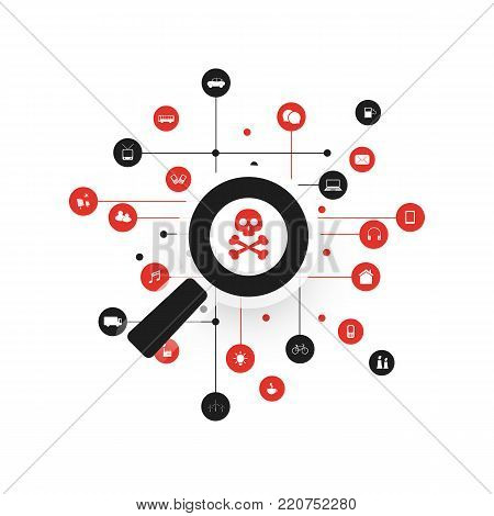 Security Audit, Virus Scanning, Cleaning, Eliminating Malware, Ransomware, Hacker Attack - IT Security Concept Design, Vector illustration