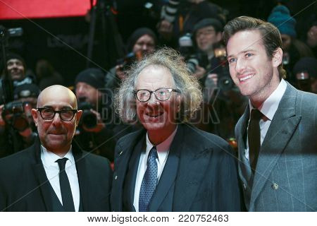 Armie Hammer, Geoffrey Rush,  Stanley Tucci attend the 'Final Portrait' premiere during the 67th Berlinale Festival Berlin at Berlinale Palace on February 11, 2017 in Berlin, Germany.