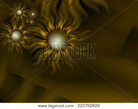 Fractal floral image, digital artwork for creative graphic design, template for inserting text.  Template for gift card.
