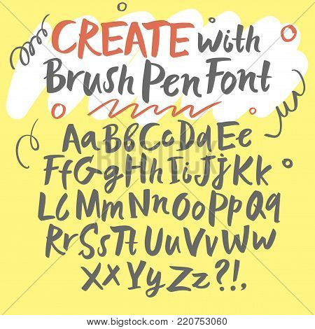 Hand drawn brush pen calligraphy vector ABC letters. Upper and lower case. Artistic paintbrush font. Beautiful typeface for your design.