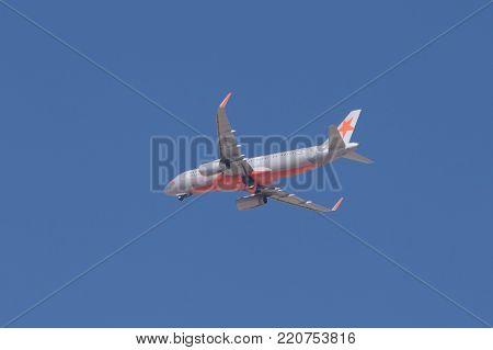 Riyadh, Saudi Arabia, KSA - January 05, 2018 Nesma Air plane with in Riyadh sky