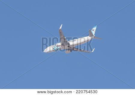Riyadh, Saudi Arabia, KSA - January 05, 2018 Jazeera plane in Riyadh sky