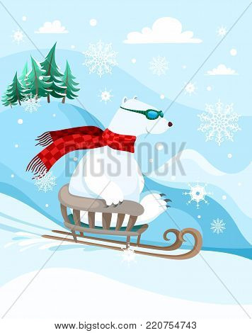 vector cute winter illustration with a funny polar bear