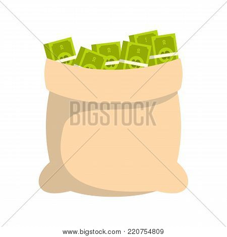 Big bag money icon. Flat illustration of big bag money vector icon isolated on white background