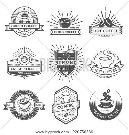 Set of nine vector coffee logo templates. Coffee labels with sample text. Mugs, beans and coffee equipment icons for coffee shop logos, badges and elements design