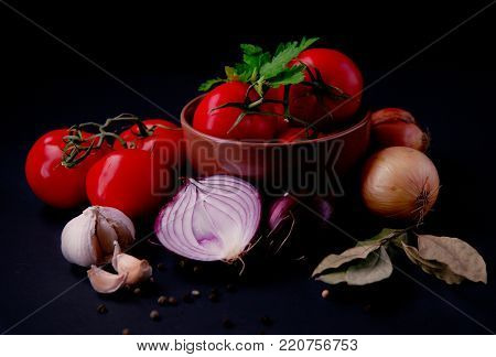 group of vegetables on a dark background