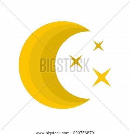 Moon night icon. Flat illustration of moon night vector icon isolated on white background