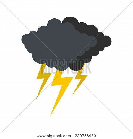 Cloud thunder flash icon. Flat illustration of cloud thunder flash vector icon isolated on white background