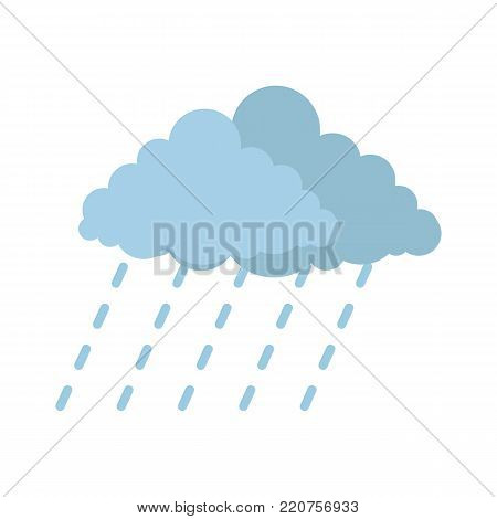 Cloud rain storm icon. Flat illustration of cloud rain storm vector icon isolated on white background
