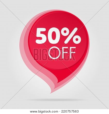 Special offer sale red tag isolated vector illustration. Discount offer price label, symbol for advertising campaign in retail, sale promo marketing, fifty percent off discount sticker, ad offer on shopping day