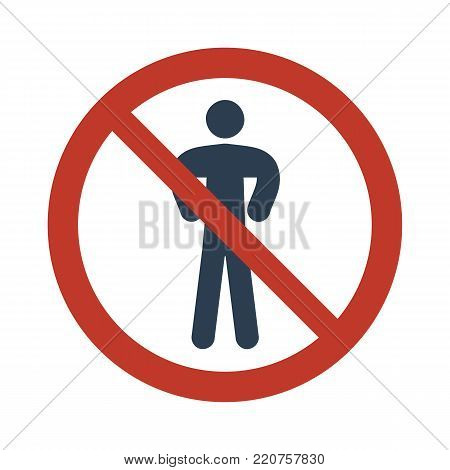 No Man Sign On White Background.