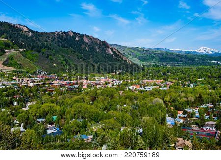 Aerial view of Aspen Colorado, USA