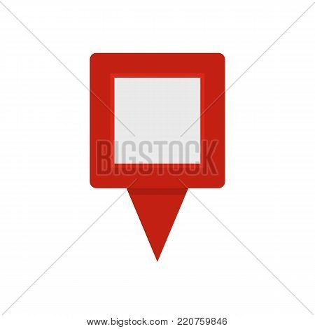 Square pin icon. Flat illustration of square pin vector icon isolated on white background