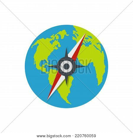 Compass on earth icon. Flat illustration of compass on earth vector icon isolated on white background
