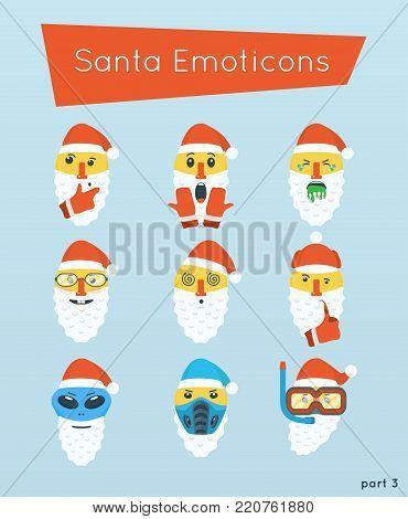 Set of Santa Emoticons: thinking, scream, puke, nerd, dizzy, sherlock, alien, subzero, diver. Part 3.