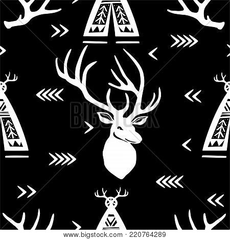 Seamless pattern with silhouettes of Deer heads and wigwams