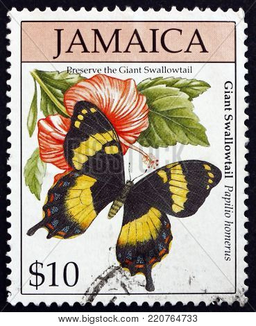 JAMAICA - CIRCA 1994: a stamp printed in Jamaica shows Homerus swallowtail, papilio homerus, is the largest butterfly in the western hemisphere, circa 1994