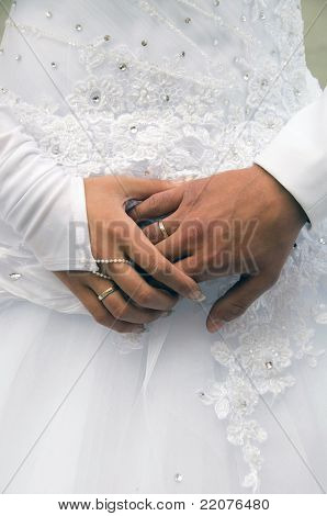 Hands of newlyweds.