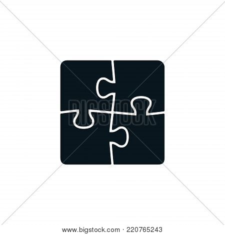 Four piece black puzzle. Vector isolated puzzle elements.