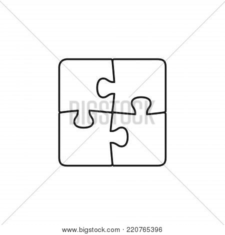 Four piece outline puzzle. Vector isolated puzzle elements.