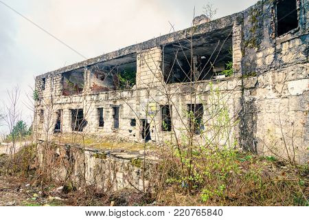 Building on the outskirts of Sarajevo shelled during the Balkan war in 1992-1996