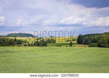 Meadows and fields in Lesser Poland Voivodeship of Poland
