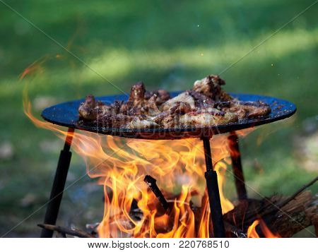 camping food barbeque outdoor in summer camp