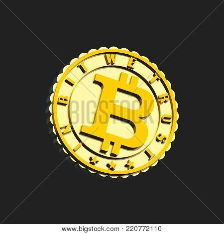Gold and siver textured crypto currency coin 3D illustration sign, isolated on black. Light and dark contrast, motto 3d text. Collection.