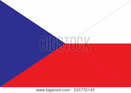 Flag of the Czech Republic oficial colors and proportions