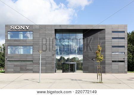 Ballerup, Denmark - September 10, 2017: Sony office building. Sony is a Japanese multinational conglomerate corporation that is headquartered in Konan, Japan