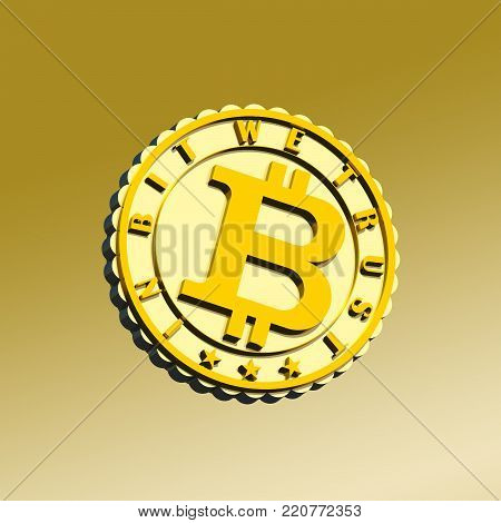 Silver and gold textured crypto currency coin sign 3D illustration. Gradient color background, motto 3d text. Collection.