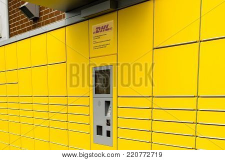 WETZLAR, GERMANY JUNE 2017, DEUTSCHE POST cargo terminal and logo  Germany. Deutsche Post AG is a German courier company and the world's largest.