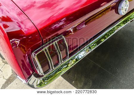 BAD NAUHEIM, GERMANY AUGUST 2017: Detail from classic Ford Mustang on a show, 16 th European Elvis Festival in Bad Nauheim, Hessen