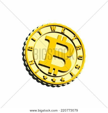 Crypto currency coin sign 3D illustration isolated on white. Metal gold and siver textures, motto 3d text. Collection.