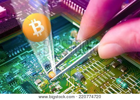 virtual money Bitcoin cryptocurrency - Bitcoins extraction - circuit motherboard