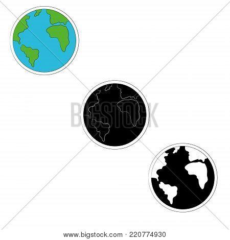 set of planet earth icons in three versions- color, monochrome. Vector illustration