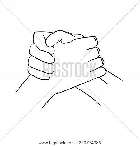 traditional biker handshake. vector illustration. hand drawing