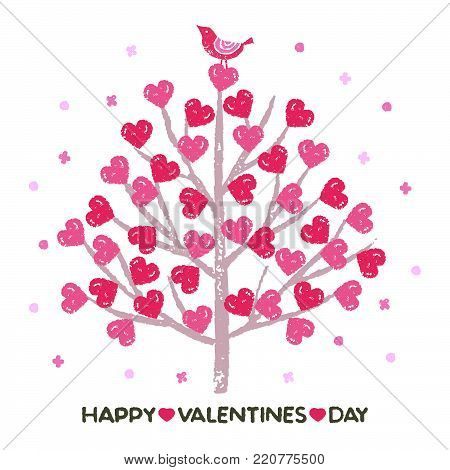 Valentines day tree heart shaped vector photo bigstock valentines day tree with heart shaped leaves and a little bird mightylinksfo
