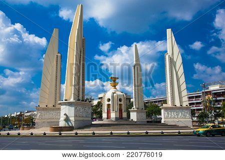 BANG KONG, THAILAND-JAN 20, 2016: Democracy Monument in Ratchadamnoen Klang Road in Phra Nakhon District on Jan 20, 2016, Bangkok, Thailand.