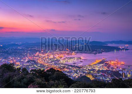 The skyline over Sasebo, Nagasaki, Japan.