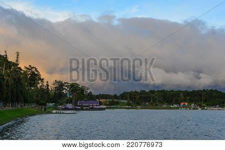 Dalat, Vietnam - Nov 26, 2017. Lake Xuan Huong in Dalat, Vietnam. Dalat (Da Lat) used to be the prime getaway for wealthy French during the colonial era.