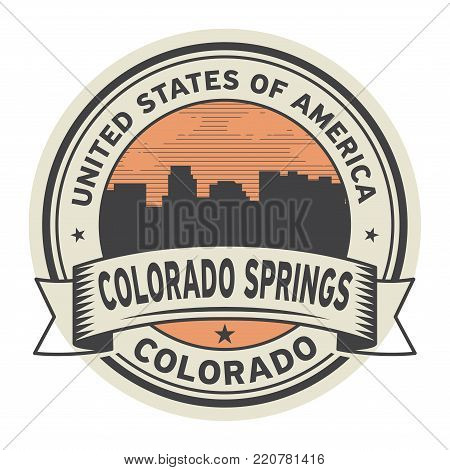 Stamp or label with name of Colorado Springs, Colorado, USA, vector illustration