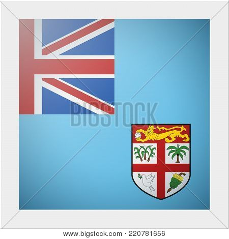 Oceania zone flag collection with photo of Fiji flag , vector , illustration