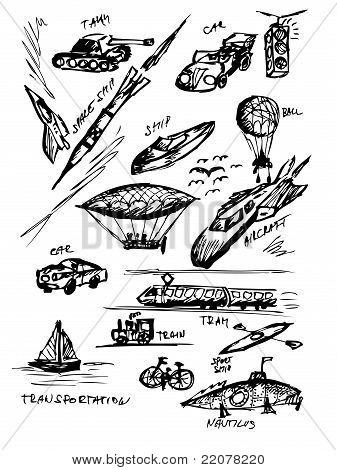 Hand Drawn Transportation Icons