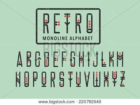 Vector alphabet set. Capital letters in geometric retro style with red points. For hipster theme, grungy posters.