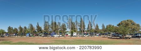 BLOEMFONTEIN, SOUTH AFRICA, JANUARY 6, 2018: The Boeremark, a flea market with more than 500 stalls operating every Saturday in Langenhovenpark, a suburb of Bloemfontein, the capital city of the Free State Province